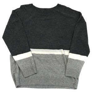 INC Grey LS Coloblock Crewneck Wool sweater